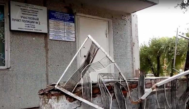 В Красноярском крае балкон рухнул на участковый пункт полиции
