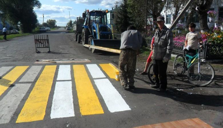 В Омской области с помощью линолеума нанесли разметку на дороге