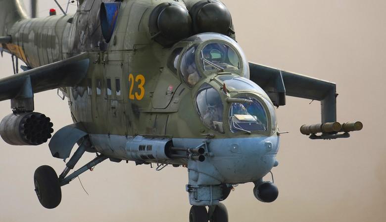 Ударные вертолеты Ми-24 на учениях уничтожили лагерь