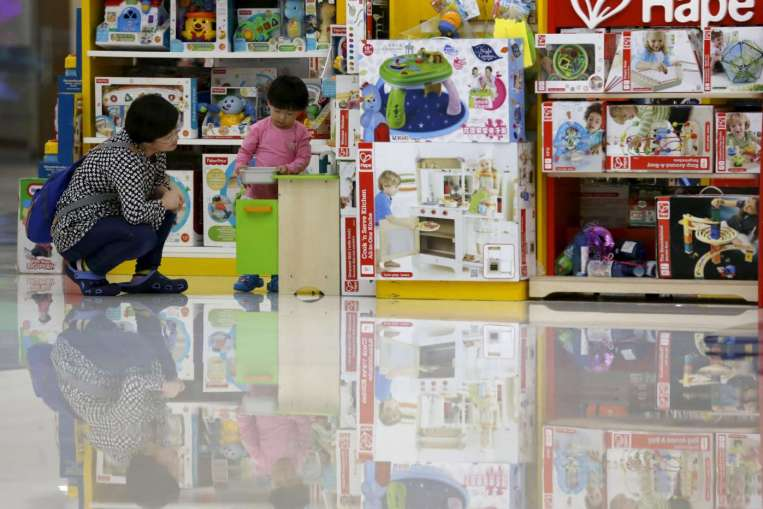 a busy toy shop